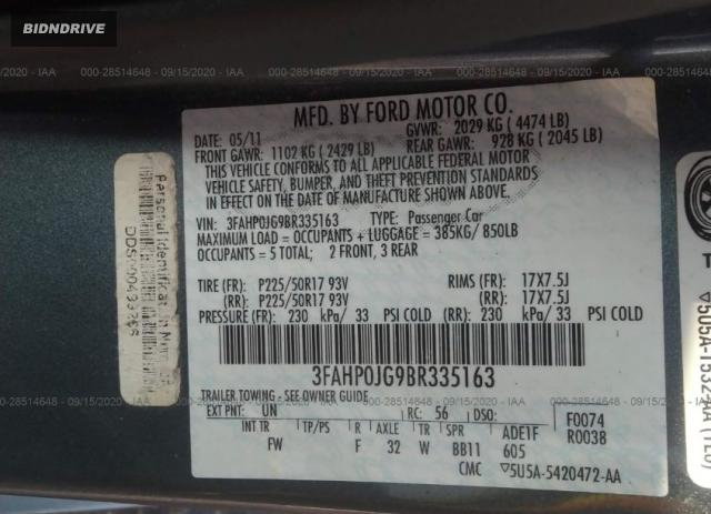 Lot #1609785818 2011 FORD FUSION SEL salvage car