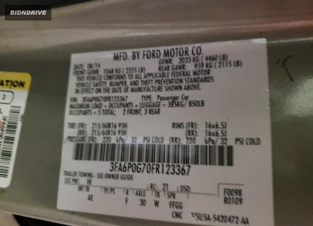 Lot #1690247800 2015 FORD FUSION S salvage car
